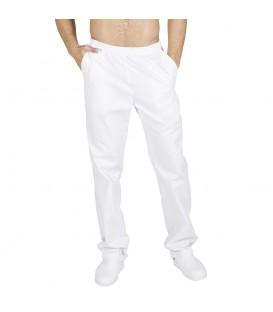 Pantalón Sanitario Sarga Blanca con Bolsillos Goma Entera