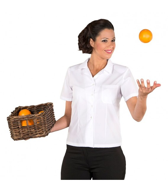 Camisa Entallada Manga Corta Blanca/Negra