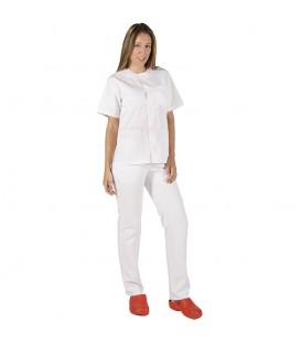 Conjunto Sanitario Unisex Abotonado Sarga Blanca